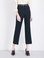 Gucci Slim-fit cropped high-rise wool and silk-blend trousers