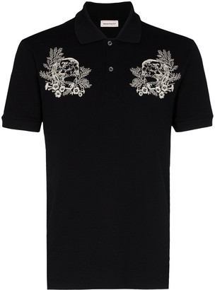 Alexander McQueen floral skull embroidered polo shirt