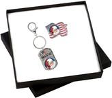 American Coin Treasures Patriotic Santa Colorized Quarter Flag Pin and Key Chain Set