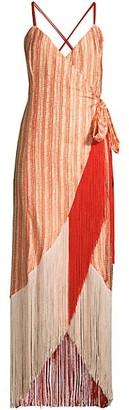 Azulu Fringe Hem Wrap Dress