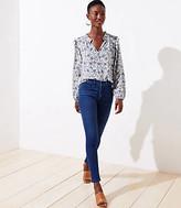 LOFT Petite Curvy Button Tab Slim Pocket Skinny Jeans in Refined Blue Wash