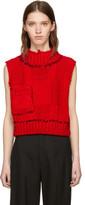 Raf Simons Red Blow-up Patchwork Gilet Vest