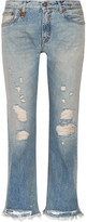 R 13 Classic Distressed Mid-rise Straight-leg Jeans - Mid denim