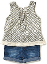Jessica Simpson Baby Girls 12-24 Months Diamond-Printed Fringe-Trimmed Top & Denim Shorts Set