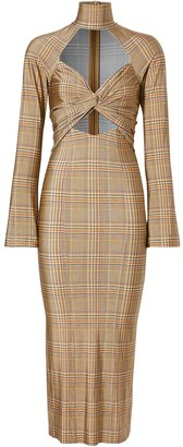 Burberry Cut-Out Checked Midi Dress