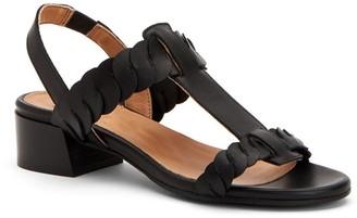 Aquatalia Haiden Leather T-Strap Woven Slingback Block Heel Sandal