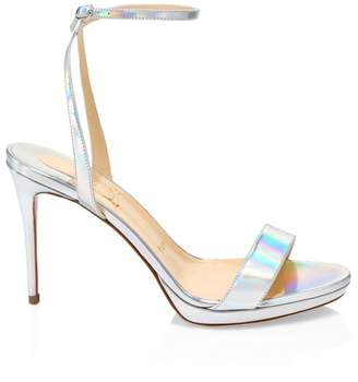 Christian Louboutin Loubi Queen Iridescent Leather Ankle-Strap Sandals