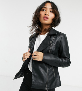 Only Petite faux leather jacket in black