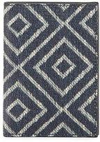 Salvatore Ferragamo Capsule Now Geometric-Print Bi-Fold Canvas Card Case, Blue/Sand