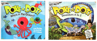 """Melissa & Doug Poke A Dot Book Bundle - """"Dinosaurs A to Z"""" and """"Who's in the Ocean?"""" Books"""