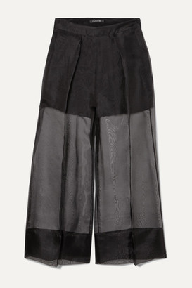 Cushnie Cropped Silk-organza And Crepe Wide-leg Pants - Black