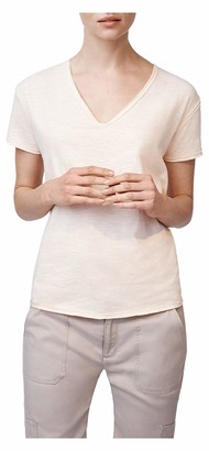 b new york Women's Short Sleeve Raw Edge V Neck Tee