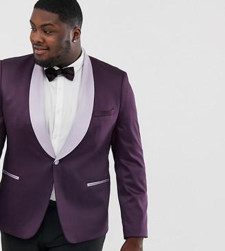 ASOS DESIGN Plus wedding skinny blazer in purple satin