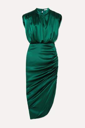 Veronica Beard Kendall Gathered Stretch-silk Satin Dress - Dark green