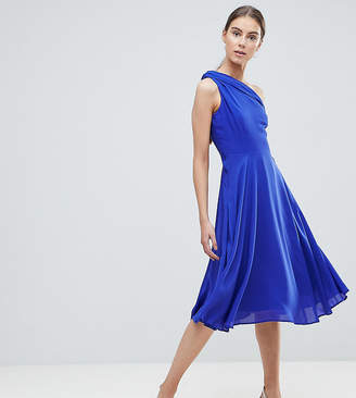 John Zack Tall Drapey One Shoulder Midi Dress