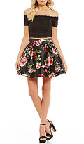 B. Darlin Off The Shoulder Top with Floral Print Skirt Two-Piece Dress