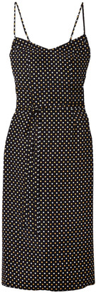HVN Polka-dot Silk Crepe De Chine Slip Dress