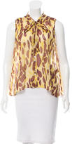 Elizabeth and James Abstract Print Button-Up Top