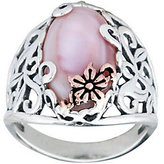 Mother of Pearl Carolyn Pollack Sterling Mother-of-Pearl Butter cup Ring