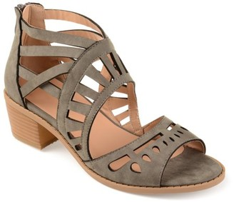 Brinley Co. Womens Faux Nubuck Open-toe Laser-cut Sandals