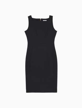 Calvin Klein Solid Square Neck Sleeveless Sheath Dress