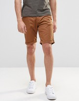 Pull&bear Slim Fit Shorts In Rust