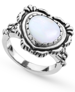 American West White Mother of Pearl Heart Bezel Set Ring in Sterling Silver