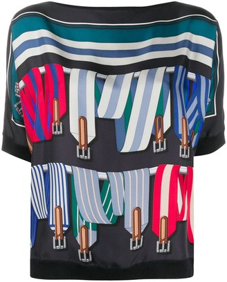 Hermes pre-owned strap print panelled T-shirt