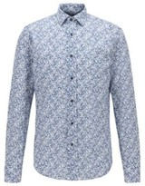 BOSS Slim-fit shirt in floral-print cotton and linen
