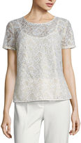 Liz Claiborne Short-Sleeve Lace Blouse