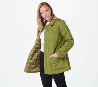 Isaac Mizrahi Live! Quilted Barn Jacket with Printed Lining