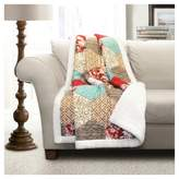 "Lush Decor Red Sherpa Grace Patchwork Throw (60""x50"