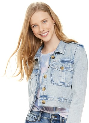 Mudd Juniors' Cropped Denim Jacket with Buttons