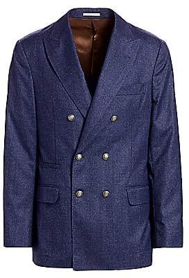 Brunello Cucinelli Men's Speckled Wool Double-Breasted Jacket