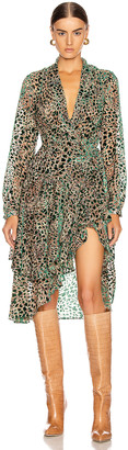 PatBO Burnout Velvet Mini Wrap Dress in Green Leopard | FWRD