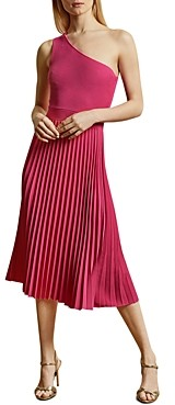 Ted Baker Miriom One-Shoulder Pleated Midi Dress