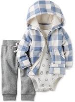 Carter's 3 Pc. Check Print Hoodie, Bodysuit & Pants Set, Baby Boys (0-24 months)