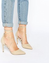 Call it SPRING Argaine Lace Up Detail Pointy Pump