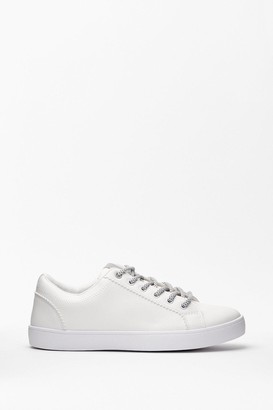 Nasty Gal Womens Lace Make It Work Faux Leather Trainers - White - 3