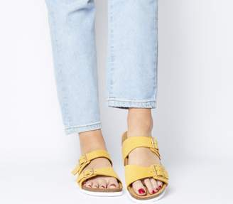 Office Stride Double Buckle Footbed Sandals Mustard Nubuck