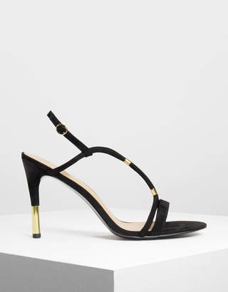Charles & Keith Gold Accent T-Bar Heeled Sandals