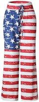 QiuLan Women's Wide Leg High Waist Casual Drawstring Trousers American USA Flag Pants(, 3XL)