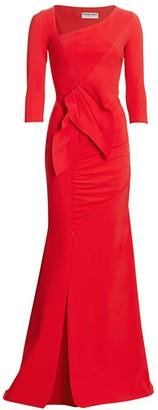 Chiara Boni Marjorie Drape Side Slit Column Gown