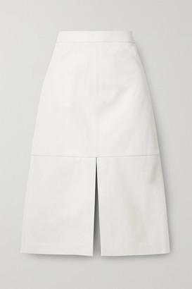 Tibi Leather Midi Skirt - White