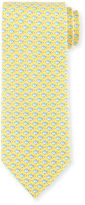 Salvatore Ferragamo Fish-Print Silk Tie, Yellow