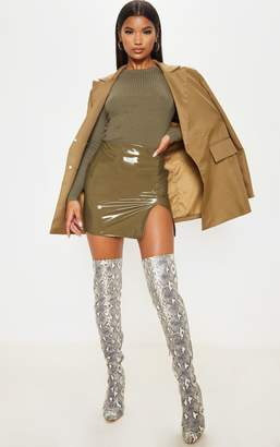 PrettyLittleThing Olive Khaki Vinyl Extreme Side Split Mini Skirt