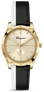 Salvatore Ferragamo Slim Formal Black & White Strap Watch, 35mm
