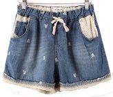 Miaokalin Women's Plus Size High-rise Harem Sweat Denim Shorts (XL, )