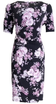 Connected Floral-Print Gathered-Waist Sheath Dress