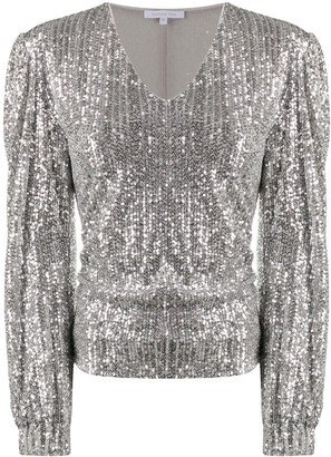 Patrizia Pepe Sequined V-Neck Top